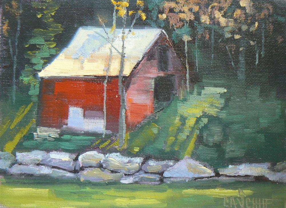 """Painting on Sale, Barn Painting, Carolina Barn by Carol Schiff, 6x8 Oil"" original fine art by Carol Schiff"