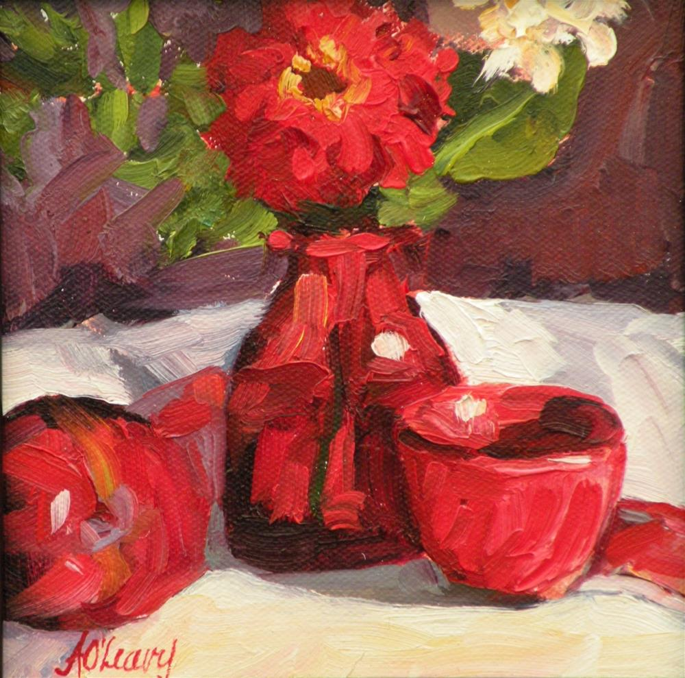 """Crimson Bowl"" original fine art by Alice O'Leary"