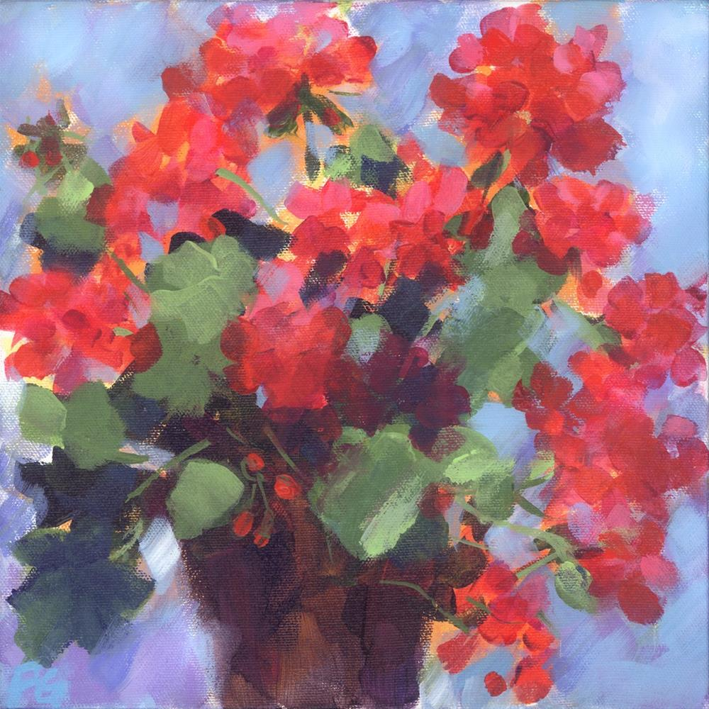 """Mini Pot Geranium"" original fine art by Pamela Gatens"