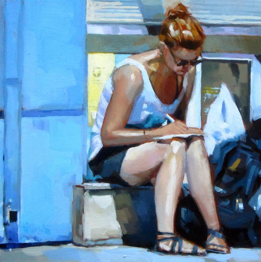 """Backpacker"" original fine art by Víctor Tristante"
