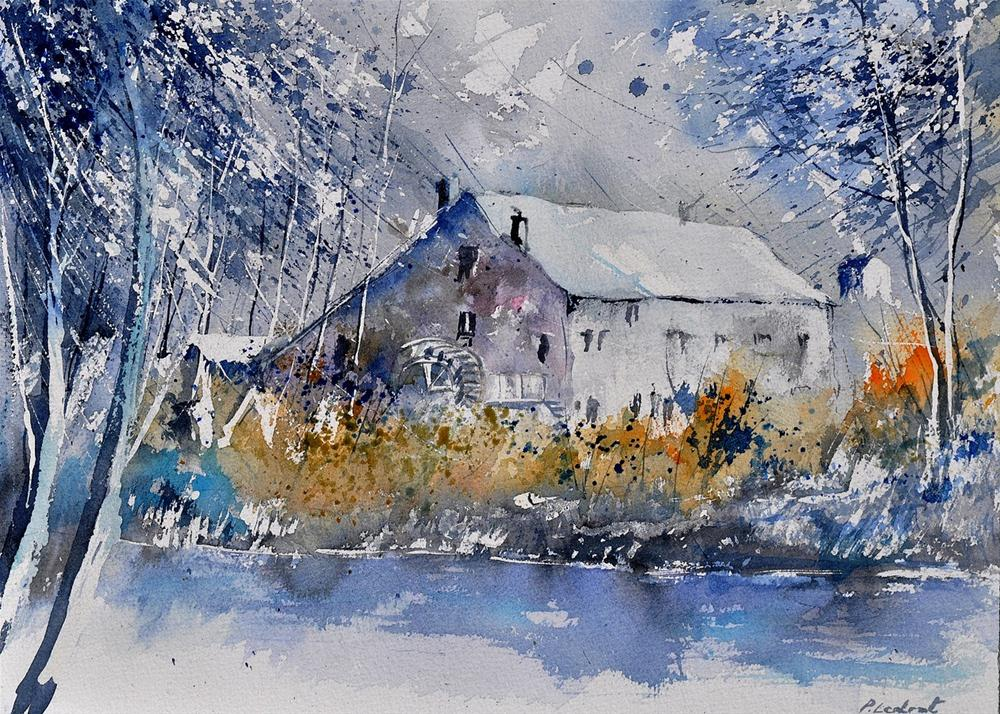 """watercolor old mill"" original fine art by Pol Ledent"