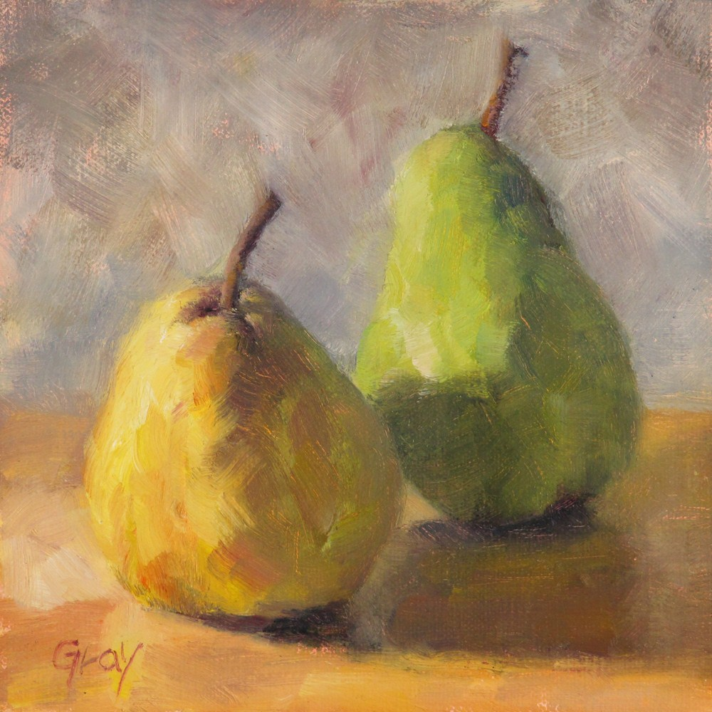 """Dancing Pears"" original fine art by Naomi Gray"