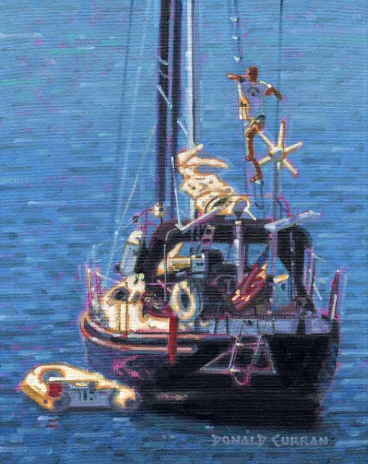 """Day on the Boat"" original fine art by Donald Curran"