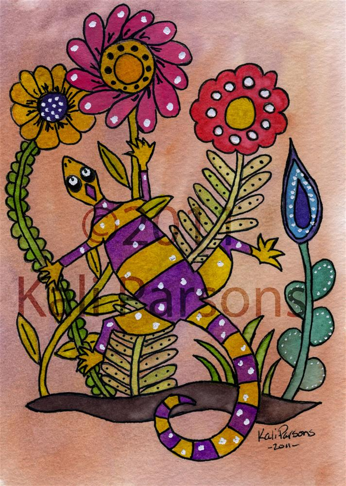 """Lizard and Flowers - Mexican Bark Style"" original fine art by Kali Parsons"