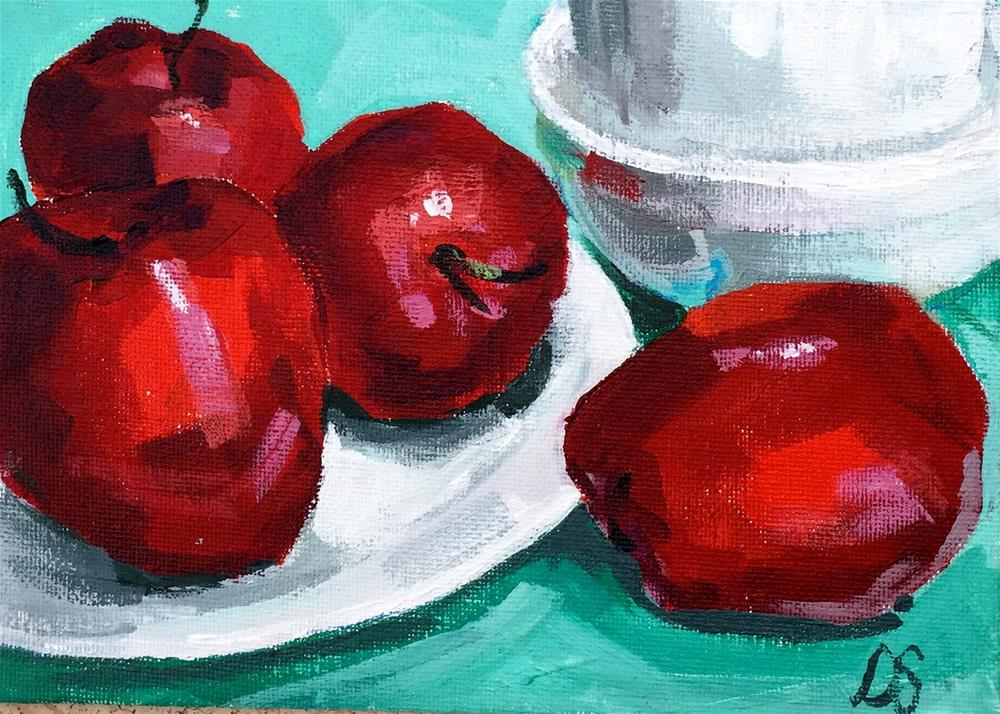 """Delicious on White Plate"" original fine art by Diana Stewart"