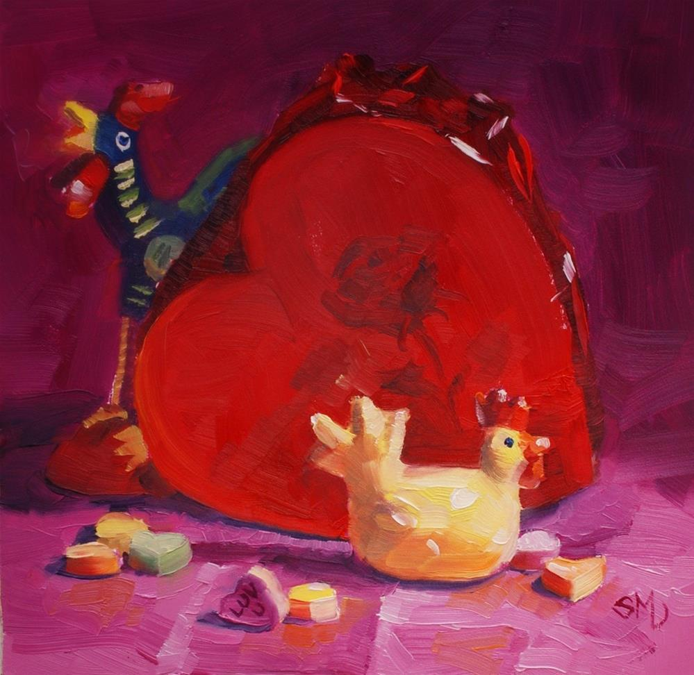 """Love is in the Air. the Traveling Chicken"" original fine art by Susan McManamen"