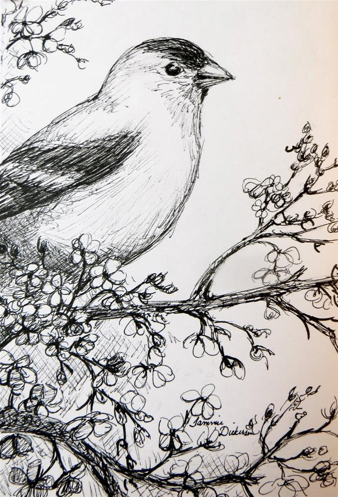 """Goldfinch in the Plum Tree"" original fine art by Tammie Dickerson"