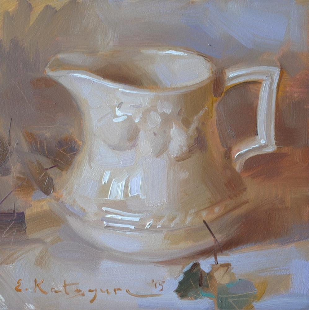 """Creamer and Leaves"" original fine art by Elena Katsyura"