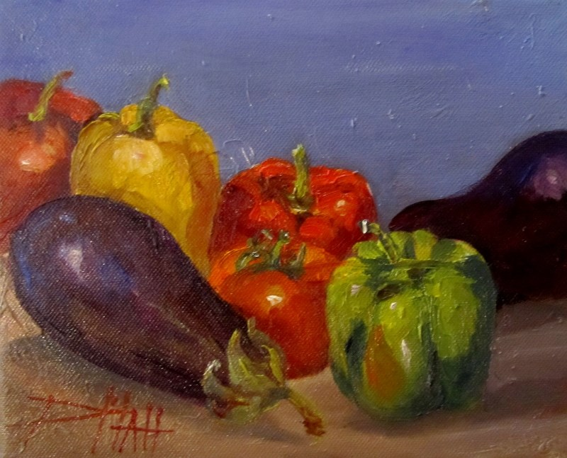 """""""Peppers and Eggplant"""" original fine art by Delilah Smith"""