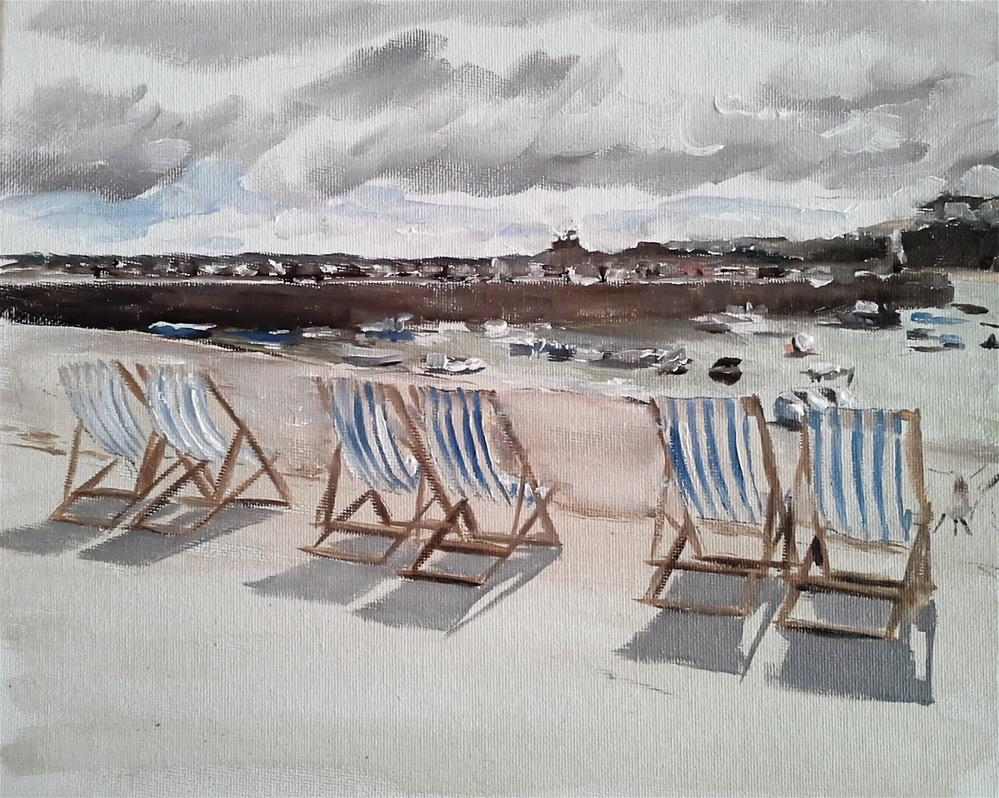 """Deck Chairs at St Ives"" original fine art by James Coates"