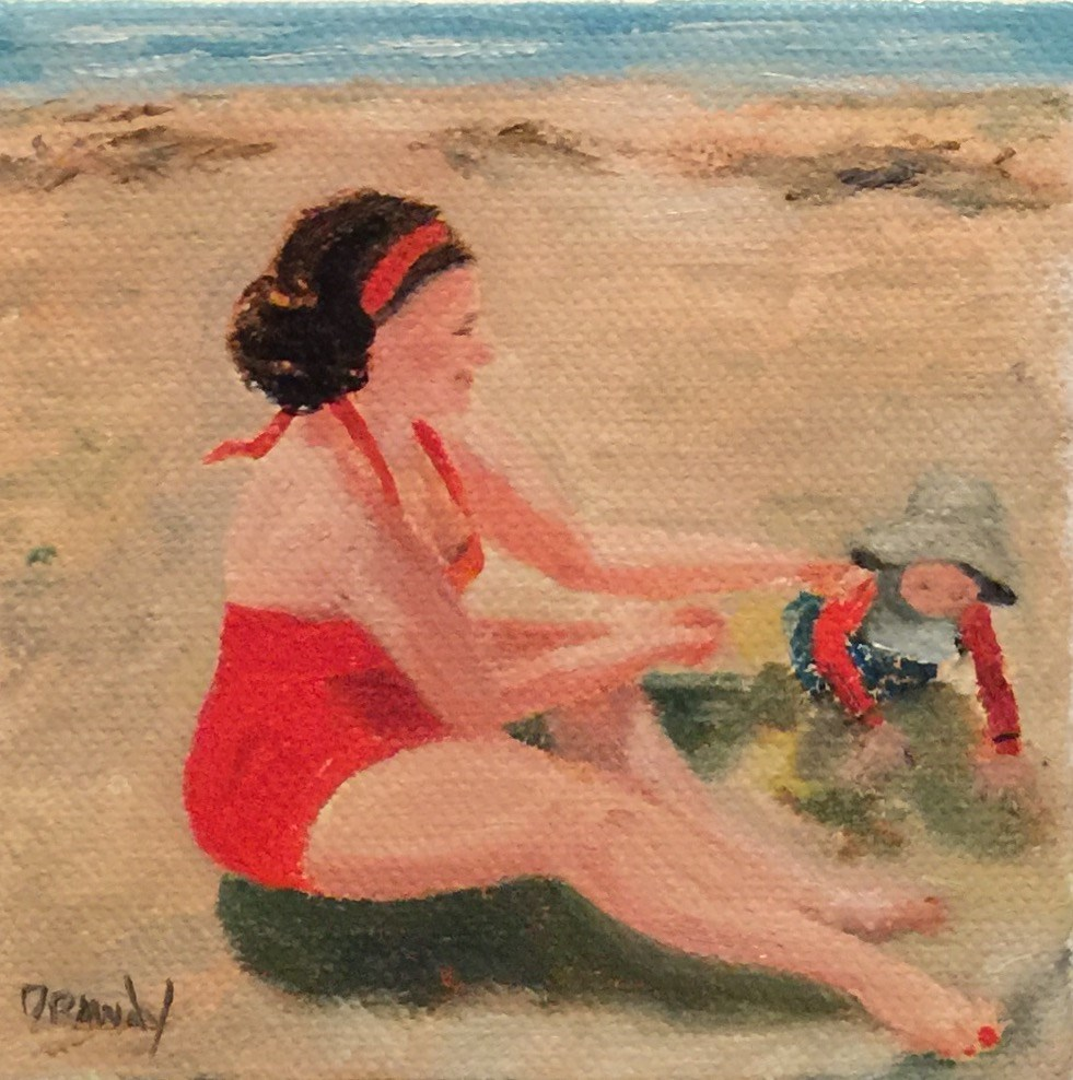 """""""Mother and Child at the Beach"""" original fine art by Stephanie Drawdy"""