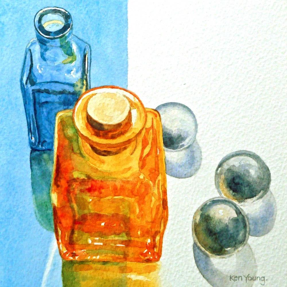 """""""Amber Bottle"""" original fine art by Ken Young"""