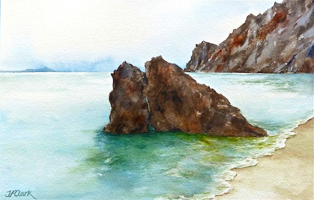 """Fegina Beach, Italian Riviera"" original fine art by Judith Freeman Clark"