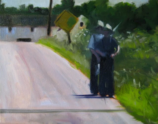 """One Lane Bridge  oil landscape painting from Amish country"" original fine art by Robin Weiss"