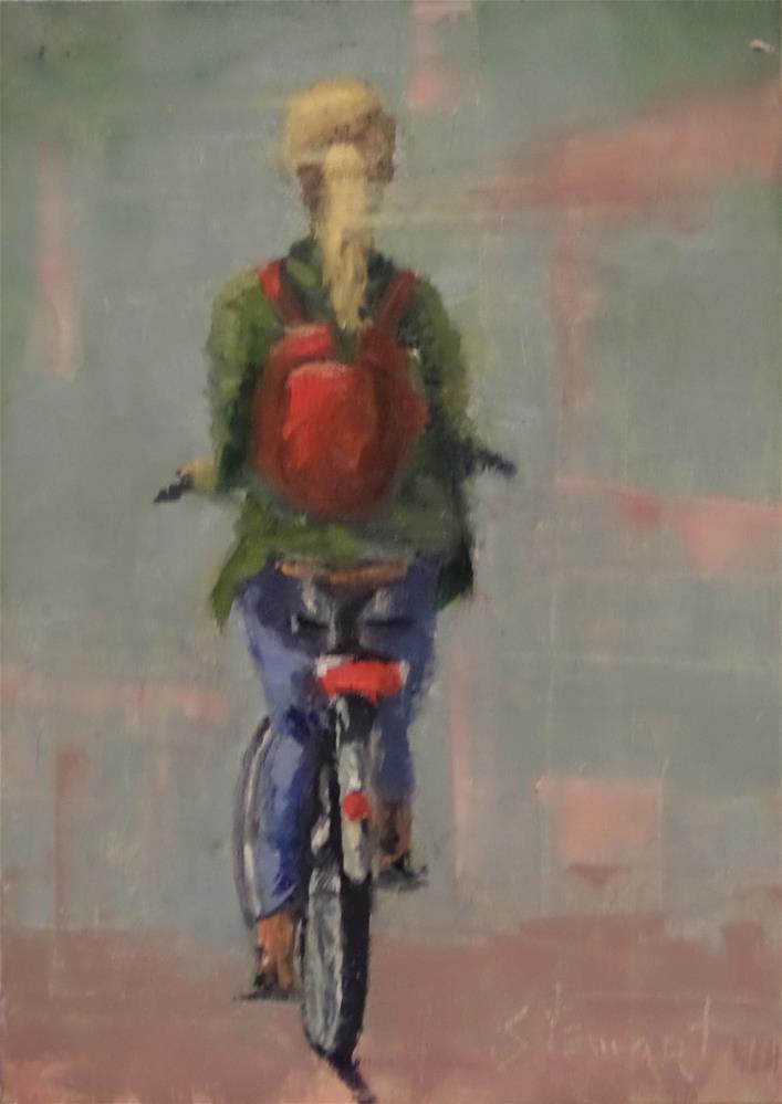 """""""BEATS THE BUS"""" original fine art by Kris Stewart"""