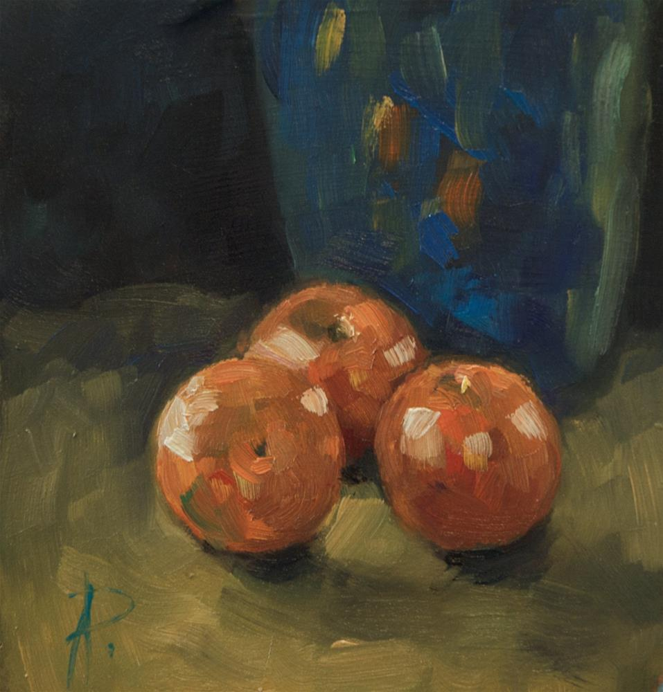 """Fruit with Blue Jug"" original fine art by Andre Pallat"