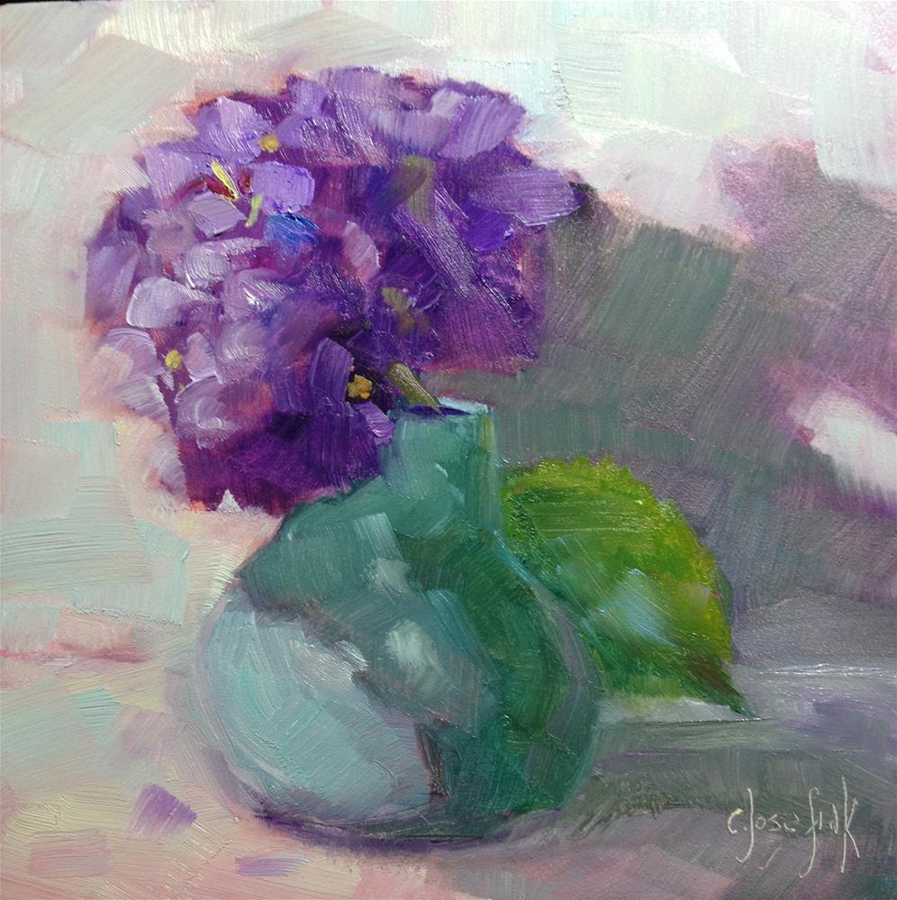 """""""Hydrangea in green vase"""" original fine art by Carol Josefiak"""