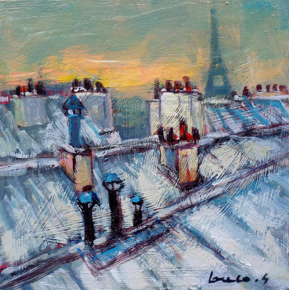 """Snow on the roofs in Paris"" original fine art by salvatore greco"