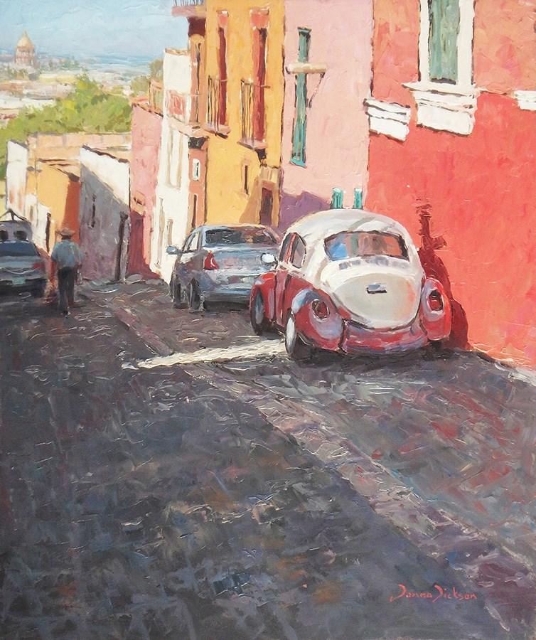 """Calle Tecolote  San Miguel de Allende"" original fine art by Donna Dickson"