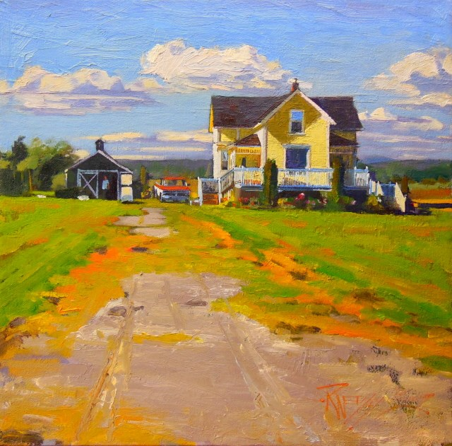 """Yellow House LaConner , oil , landscape painting by Robin Weiss"" original fine art by Robin Weiss"