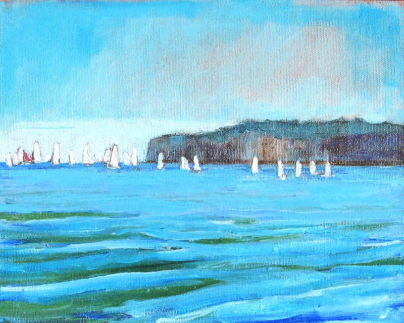 """San Clemente Sailboats 2"" original fine art by Kevin Inman"