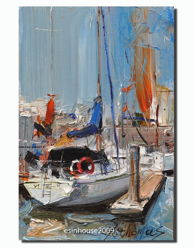 """Moored sailing boat"" original fine art by Thomas Xie"