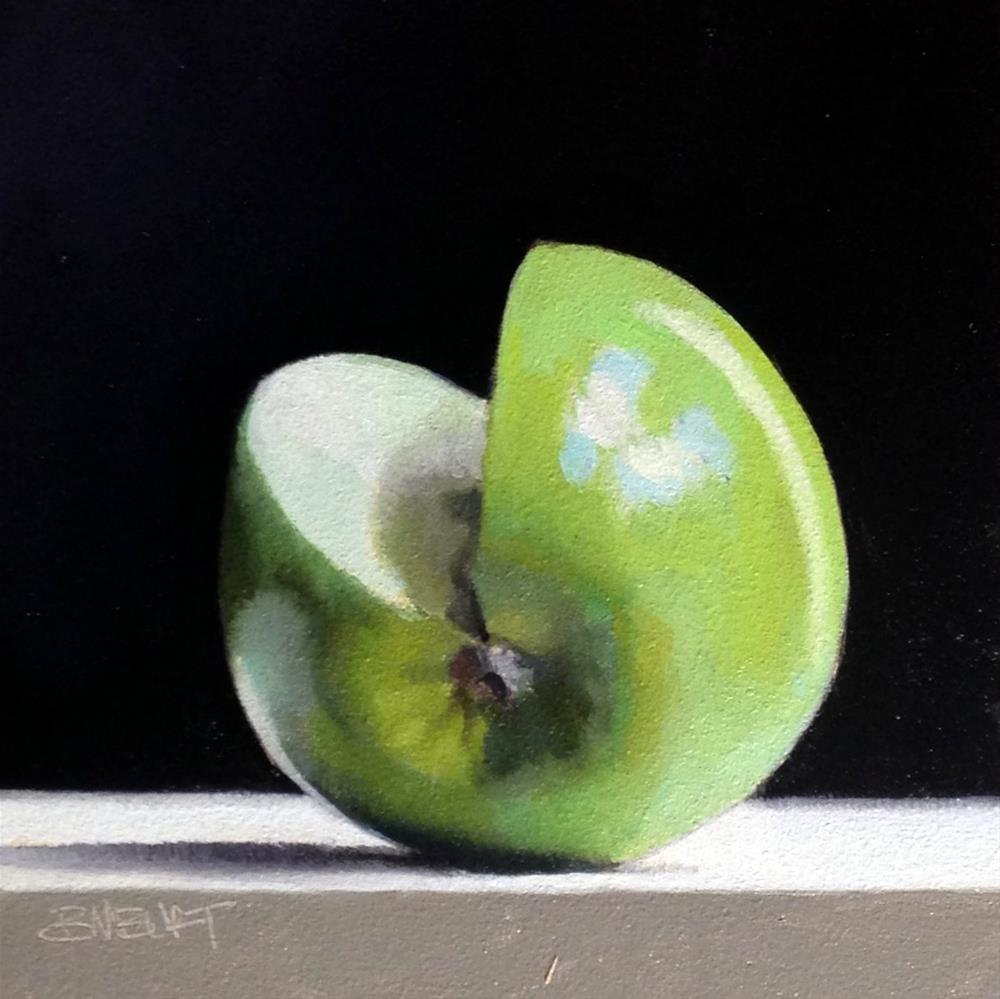 """#367 Granny Smith Slice #1"" original fine art by Brian Burt"