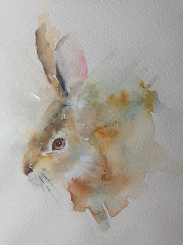 """""""Tiny Watercolor Rabbit"""" original fine art by Sue Churchgrant"""