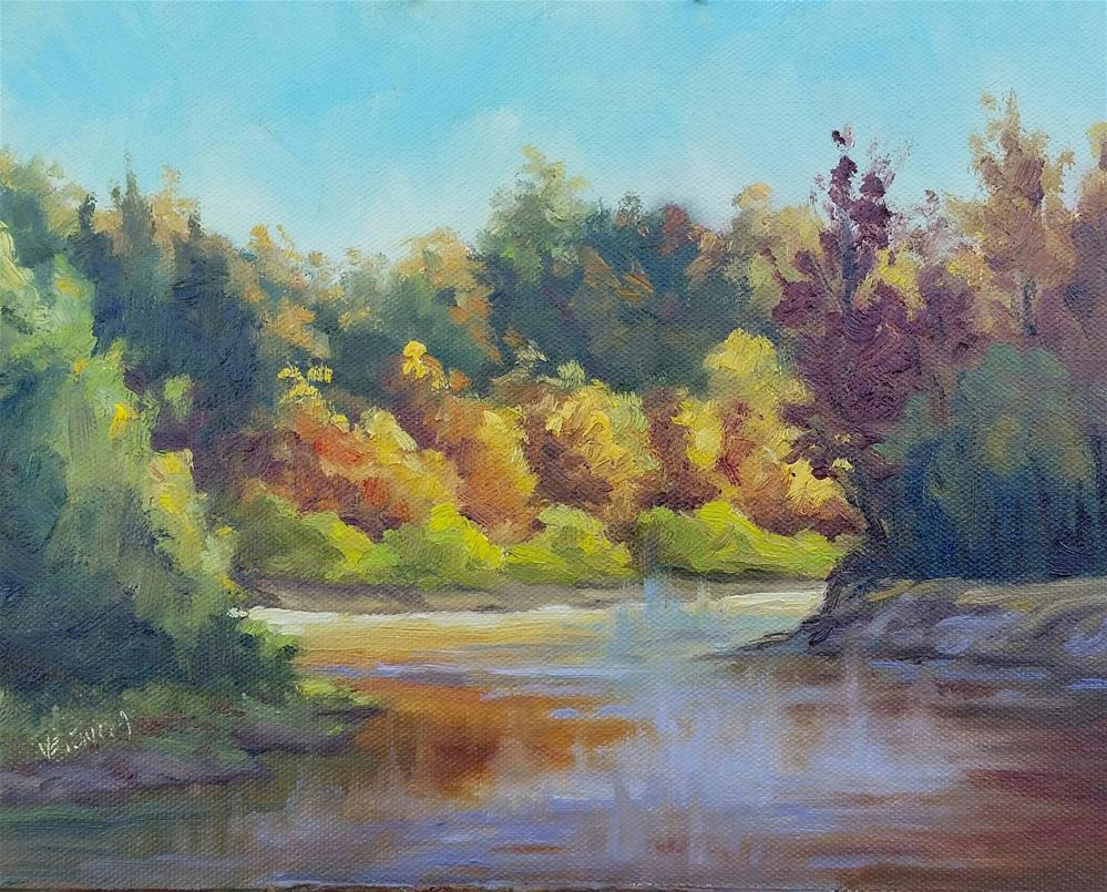 """Fall on the Meramec-en plein air"" original fine art by Veronica Brown"