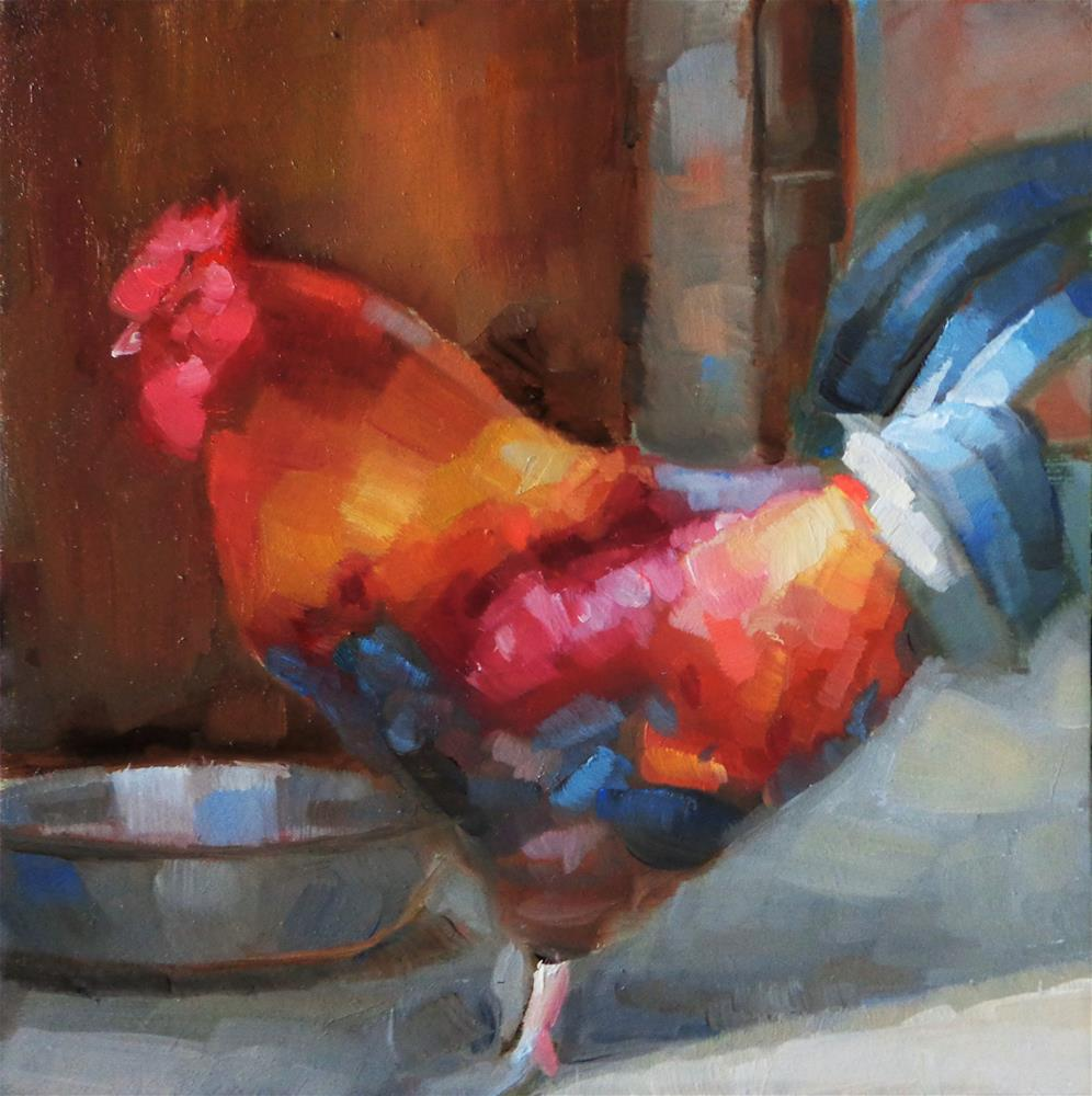 """""""Rooster"""" original fine art by Maria Z."""