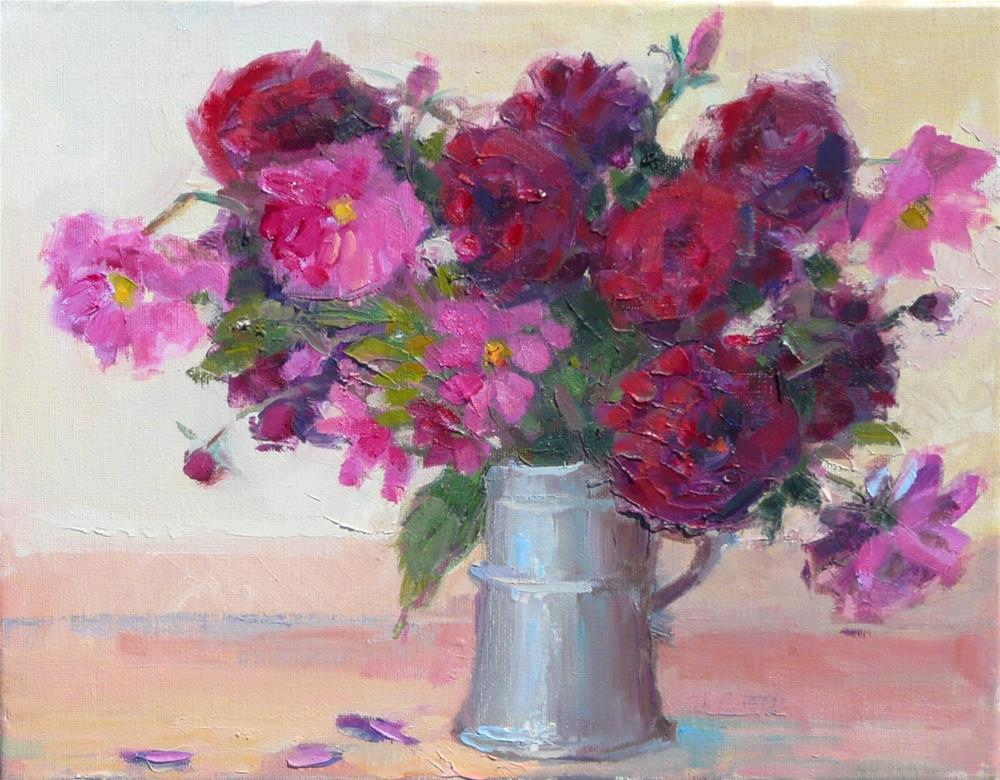"""Dalias and Cosmos in Pewter Mug,still life,oil on canvas,11x14,price$200"" original fine art by Joy Olney"