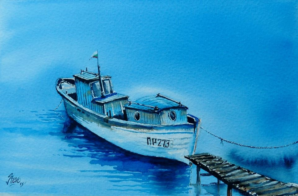 """The Blue Boat in Pomorie"" original fine art by Martin Stephenson"