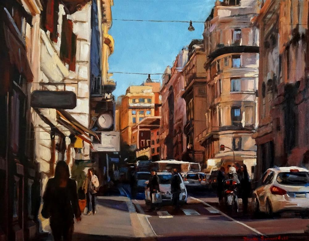 """Busy Street in Rome"" original fine art by Jonelle Summerfield"