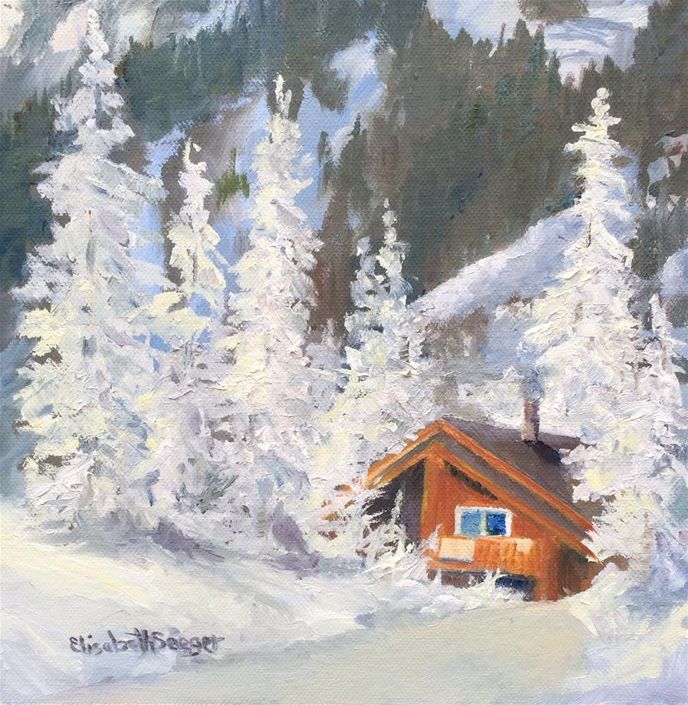 """Winter Cabin"" original fine art by Elisabeth Seeger"