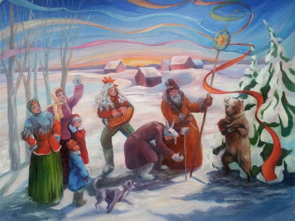 """From Slavic pagan celebrations - Kolyada"" original fine art by Olga Touboltseva-Lefort"