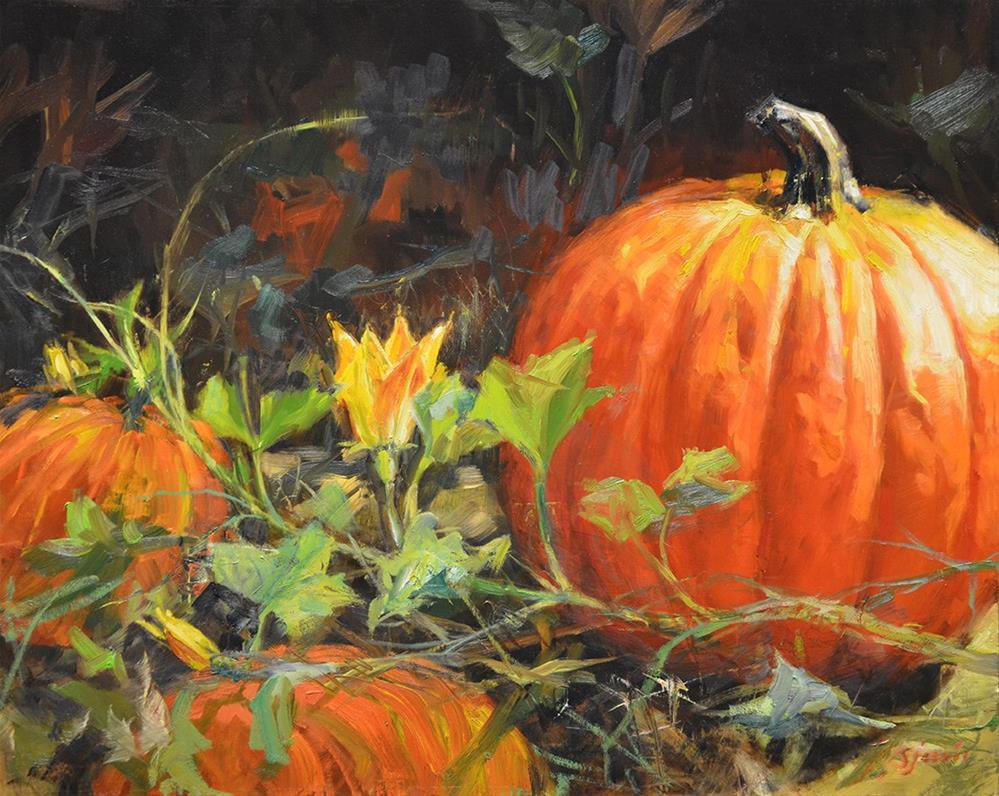 """Pumkin Patch"" original fine art by Susan N Jarvis"