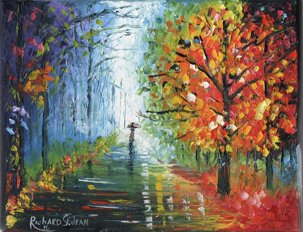"""Rainy Fall Day"" original fine art by Richard St.Jean"