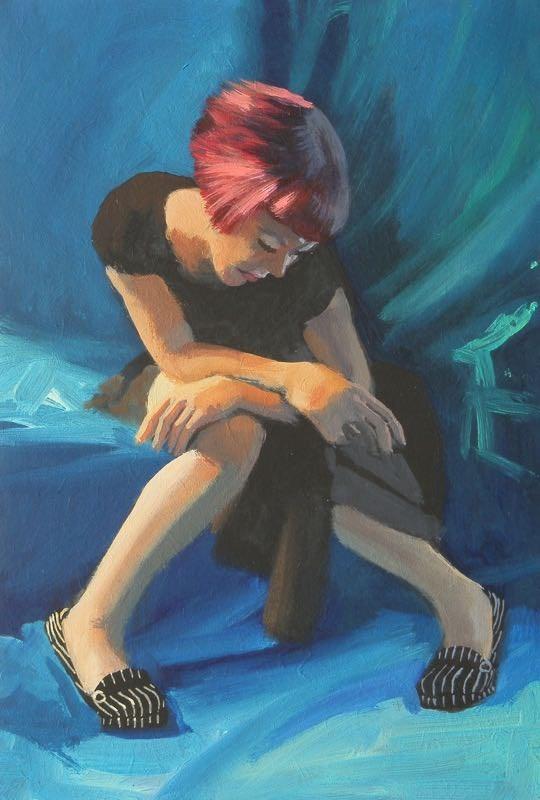 """Stripy shoes"" original fine art by Peter Orrock"