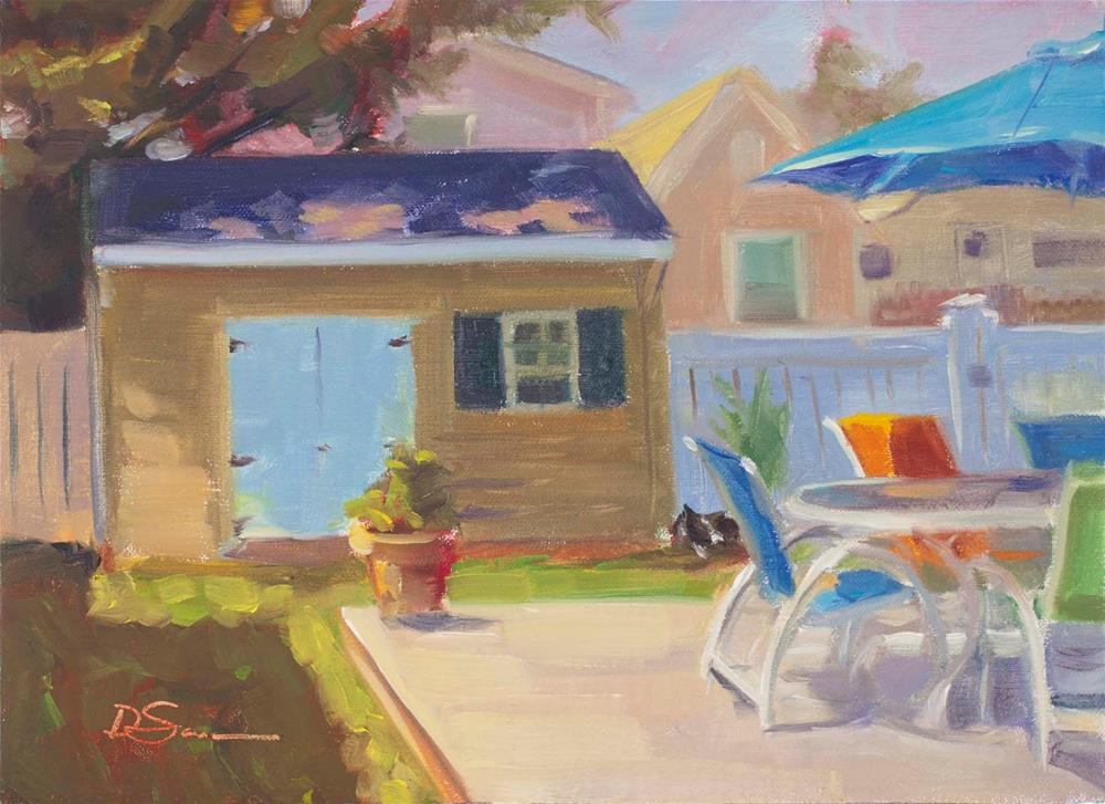 """Brigantine House Yard"" original fine art by Deborah Savo"