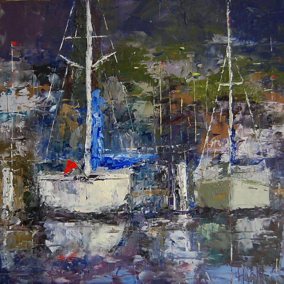 """Harbor Lights"" original fine art by Deborah Harold"