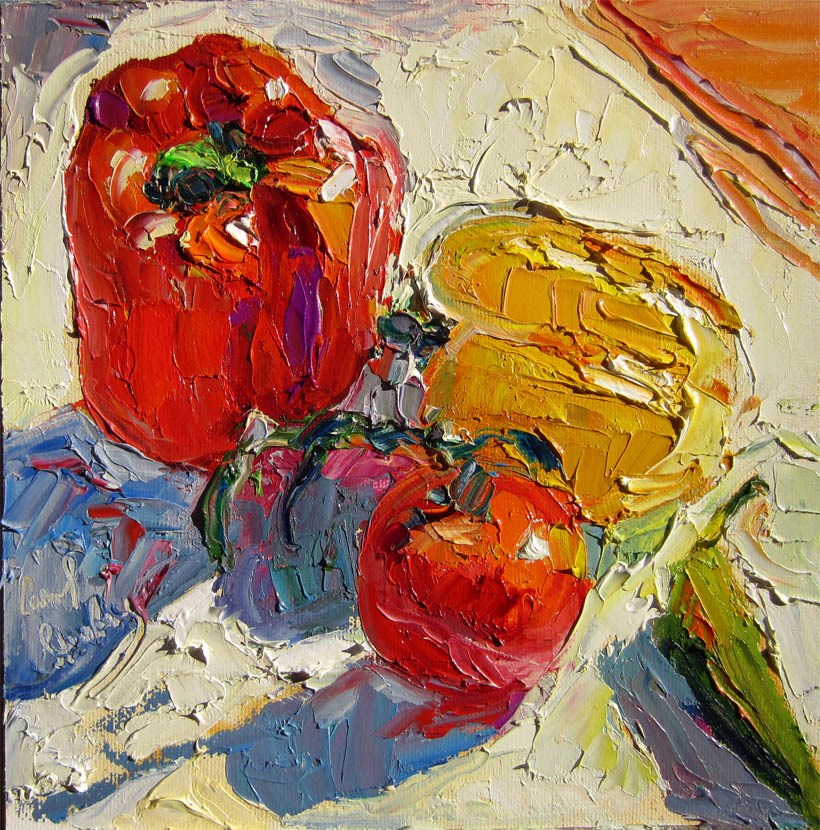 """Peppers, Tomato on Porch (Creamsickle)"" original fine art by Carol Steinberg"