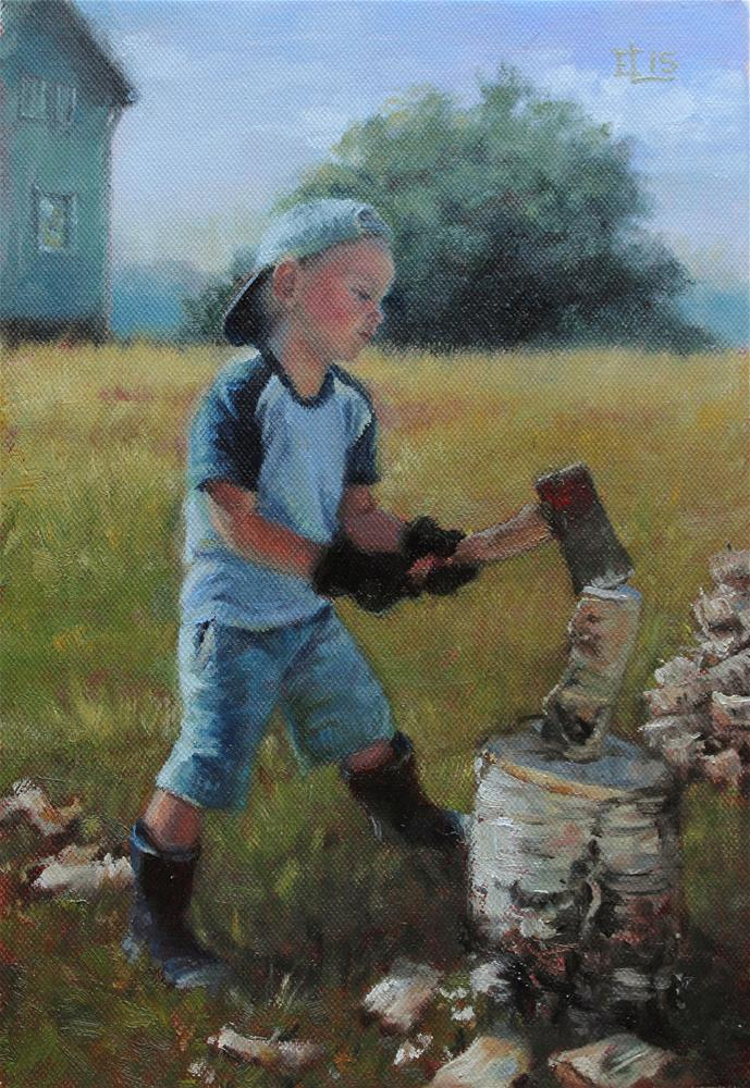 """Little Logger"" original fine art by Emilia Leinonen"
