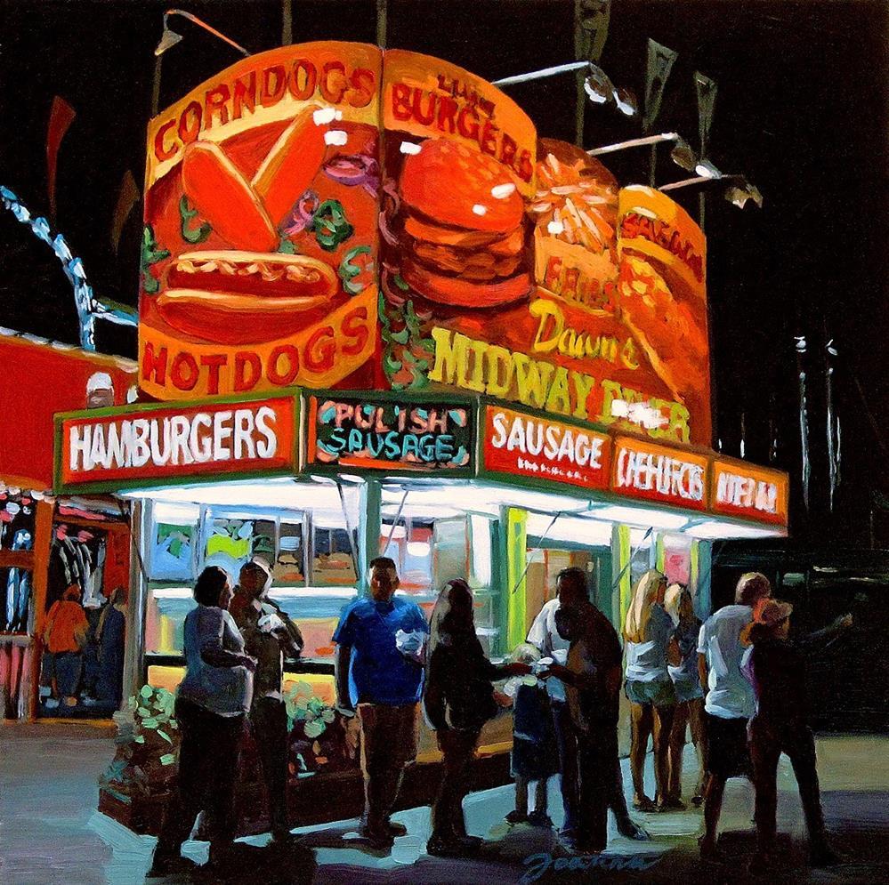"""Temptation--Series Painting of Fair Food Booth"" original fine art by Joanna Bingham"