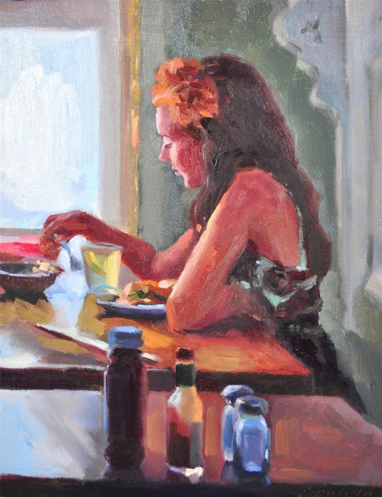 """Lunch Date oil on linen, 11x14"" original fine art by Emiliya Lane"