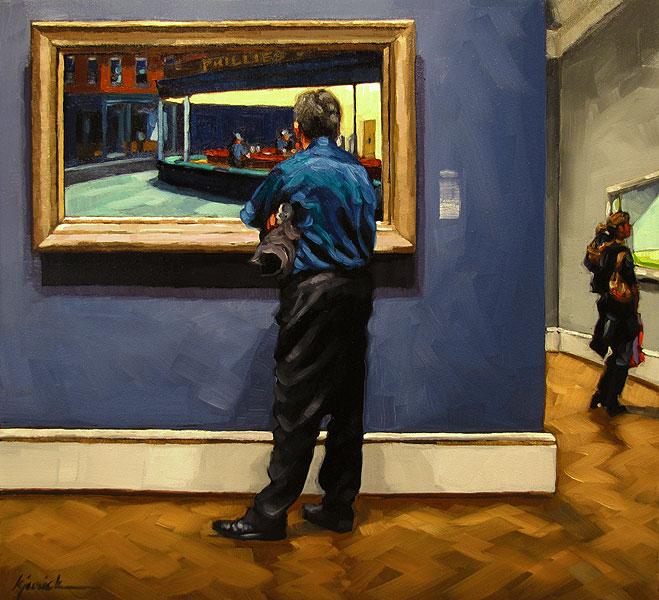 """""""Thursday Nighthawks"""" original fine art by Karin Jurick"""