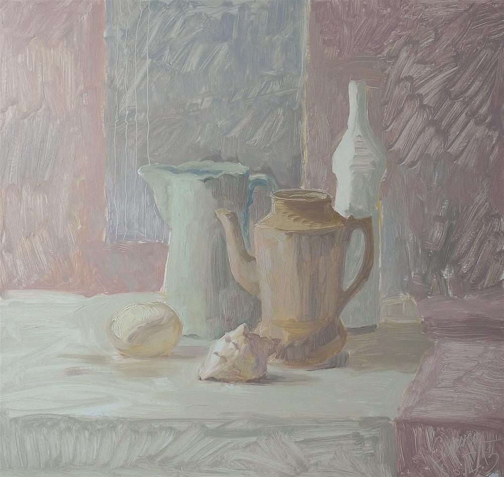 """""""Stilllife with Seashell"""" original fine art by Elena Senina"""