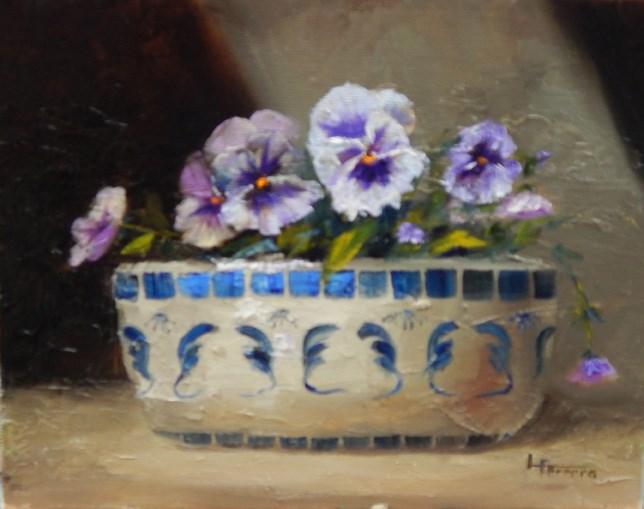 """Pansies after Edmundson"" original fine art by Lina Ferrara"