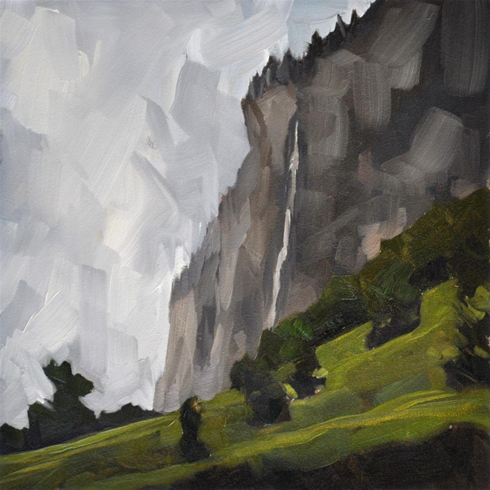 """Lauterbrunnen Waterfall - 6x6"" original fine art by Sharon Schock"