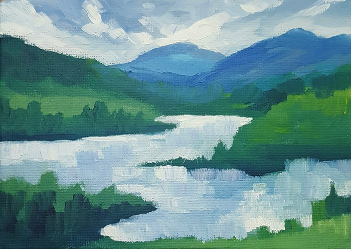 """Bright Sky Over The Lake"" original fine art by J M Needham"