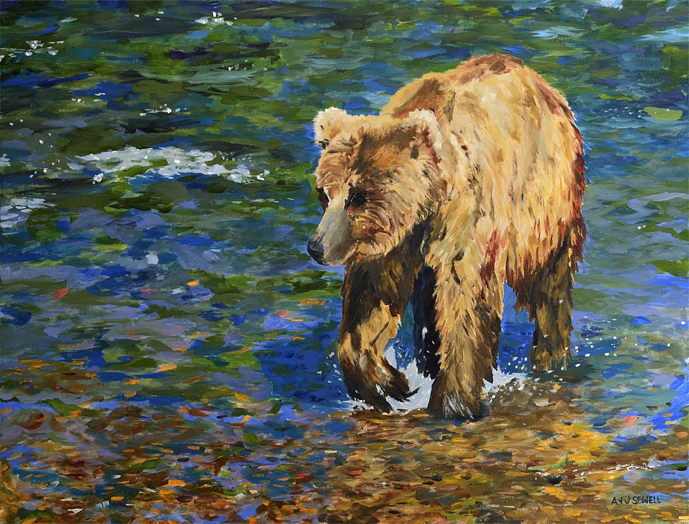 """River Grizzly"" original fine art by Andy Sewell"